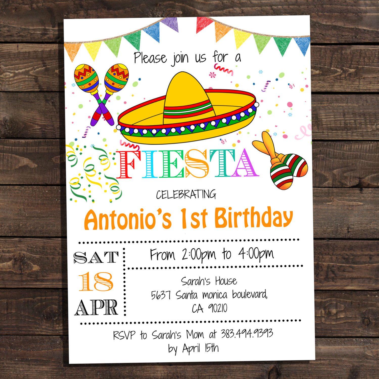 White Fiesta Birthday Party Invitations - Digital Printable ...