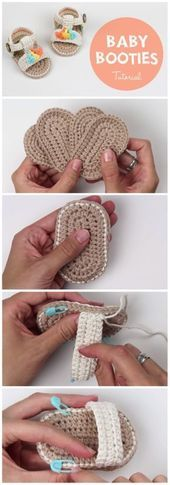 How To Crochet Baby Booties Sandals - Things To Crochet  How To Crochet Baby Booties Sandals - Free Crochet Patterns ✔    This image has get 16 repins.    Author: Falling Spring Crochet #Baby #Booties #Crochet #Sandals #crochetbabyshoes