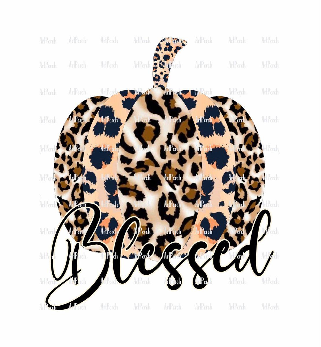 Blessed Leopard Print Pumpkin PNG Design for Instant