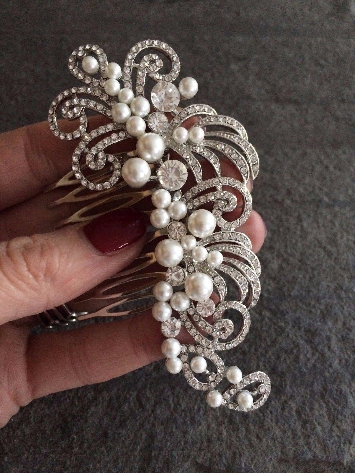 vintage design wedding hair comb diamante and pearl vintage art