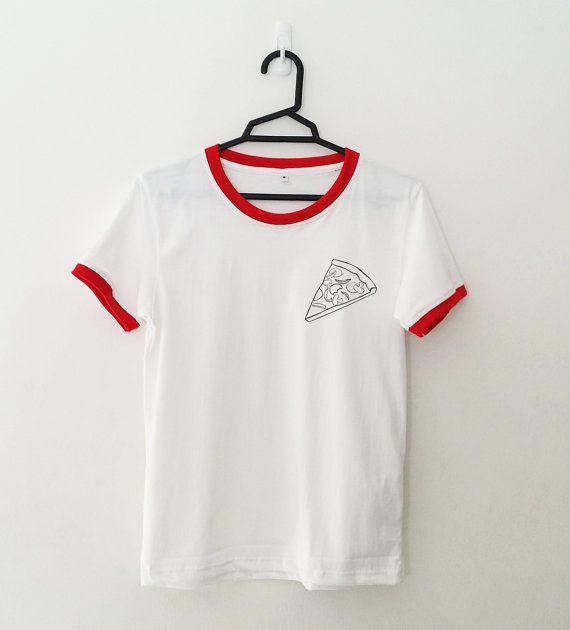 192d64db9099 Pizza Ringer Shirt Funny TShirt Tumblr Pocket Graphic Tee Shirt ...