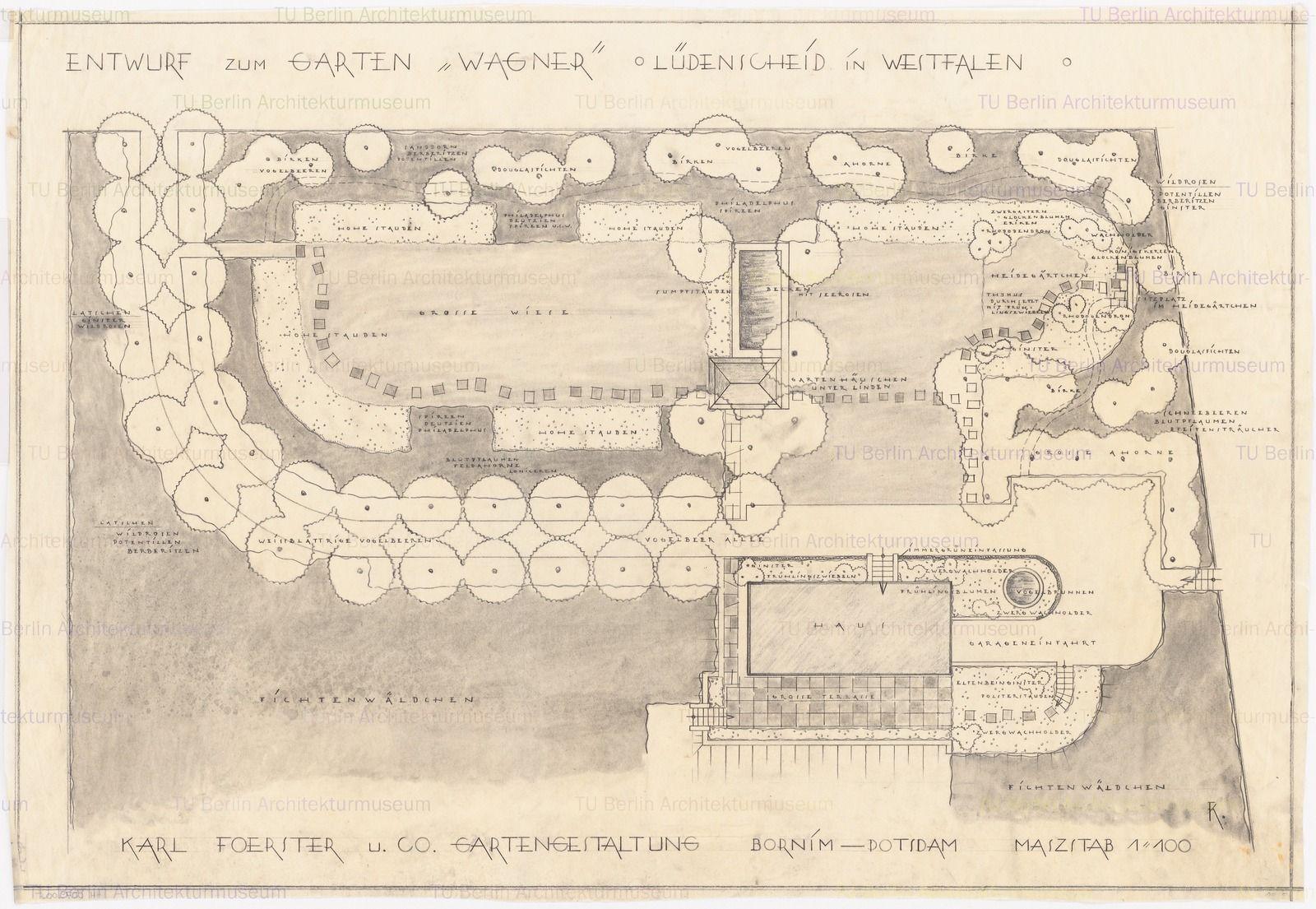 Lageplan mit Gartenplan 1:100, Inschrift: [u. r.] KF, Aufbewahrung ...