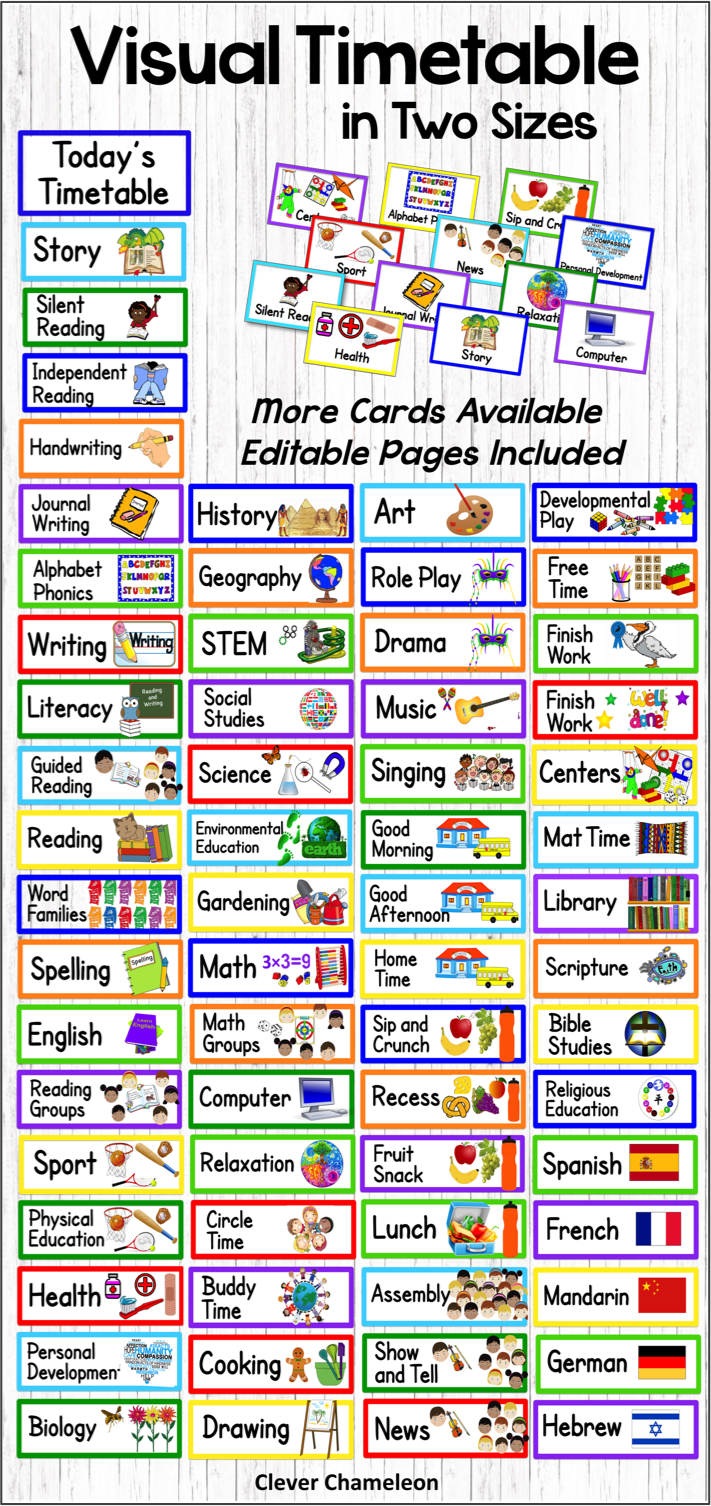 Visual Timetable In Two Sizes Visual Timetable School Timetable Phonics Lessons [ 1506 x 711 Pixel ]
