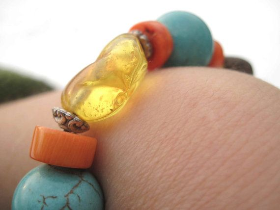 Natural Amber Turquoise Bracelet Honey Blue Teal by DreamsFactory