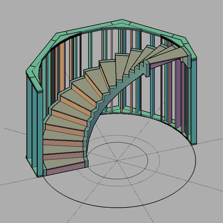 """Freestanding staircase installed with 2x6 framing. Insert walls are added to create a circular wall rather than octagonal. 1/2"""" gap remains between staircase and wall to apply (2) sheets of 1/4"""" drywall. Drywall to be added before staircase is installed. This staircase design will be used to access the finished basement from the first floor and another will be stacked directly above to access the second floor. Circular staircase designed to incorporate additional airflow from basement."""