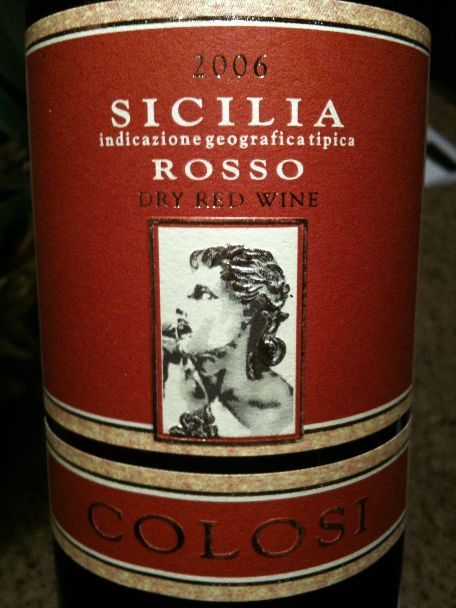 Colosi 2006 Rosso Sicilia Wine Bottle Dry Red Wine Rose Wine Bottle