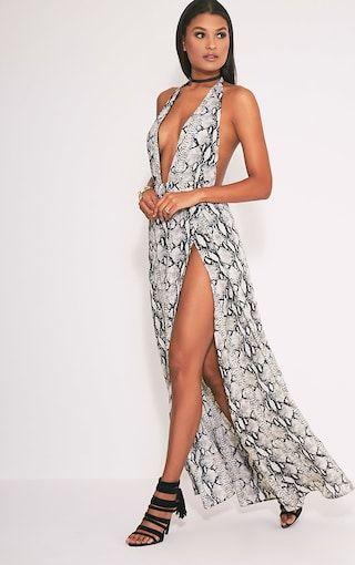 3d7273daff48 Alina Nude Snake Print Plunge Maxi Dress | greece | Snake print ...