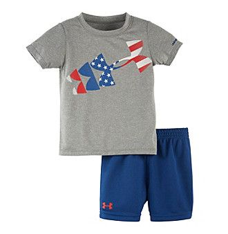 Under Armour® Baby Boys American Flag Rising Logo Tee And Shorts Set