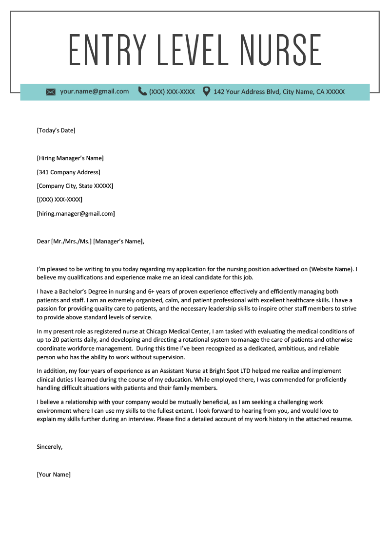 Cover Letter Sample Nursing