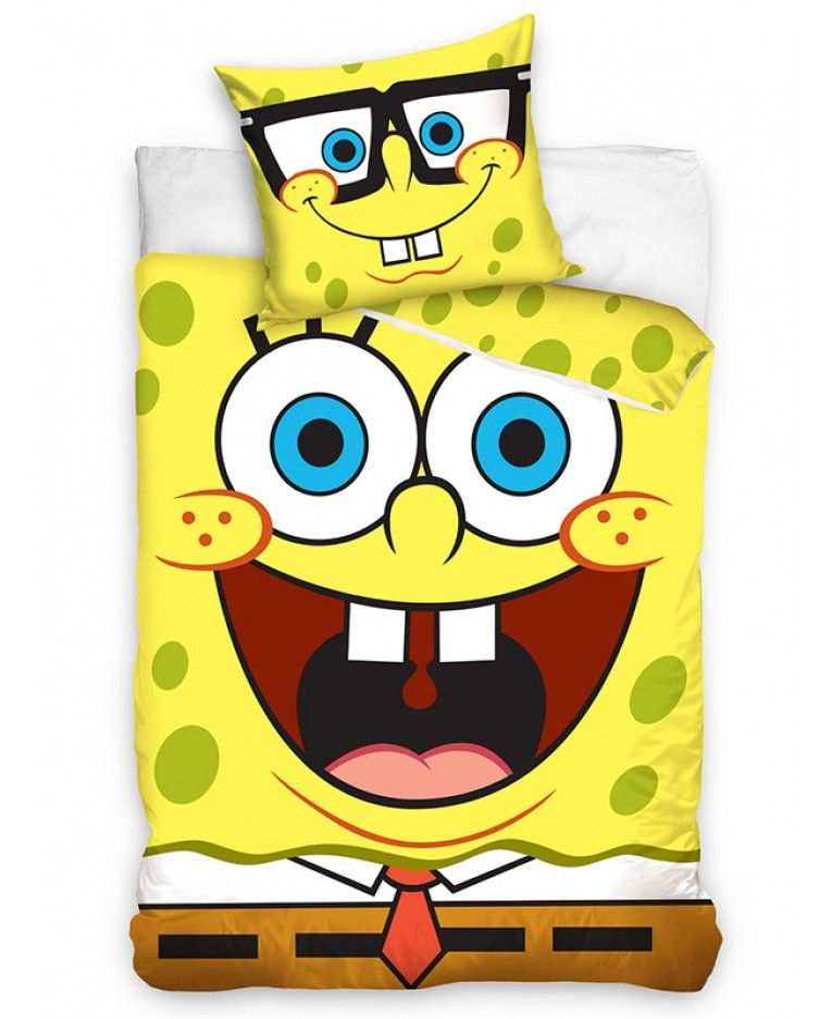 This Fun Spongebob Squarepants Single Duvet Cover And Pillowcase Set Features A Large Image Of S