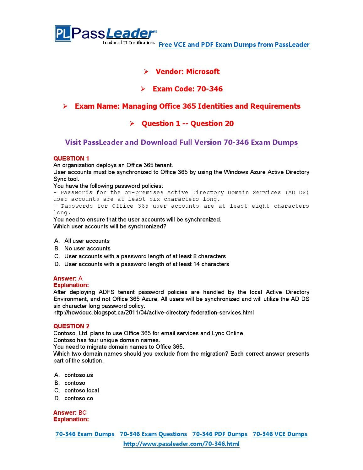 70 346 Exam Dumps With Pdf And Vce Download 1 20 70 346 Exam