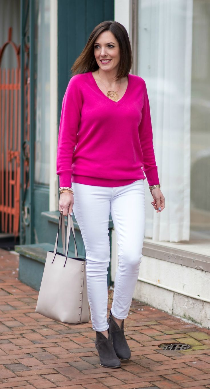 80d053f86d White and Hot Pink for Winter  how to wear white jeans after Labor Day