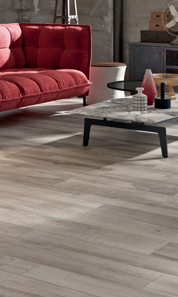 Happy Floors North Wind Grey 6 In X 36 In Porcelain Wood Look Tile