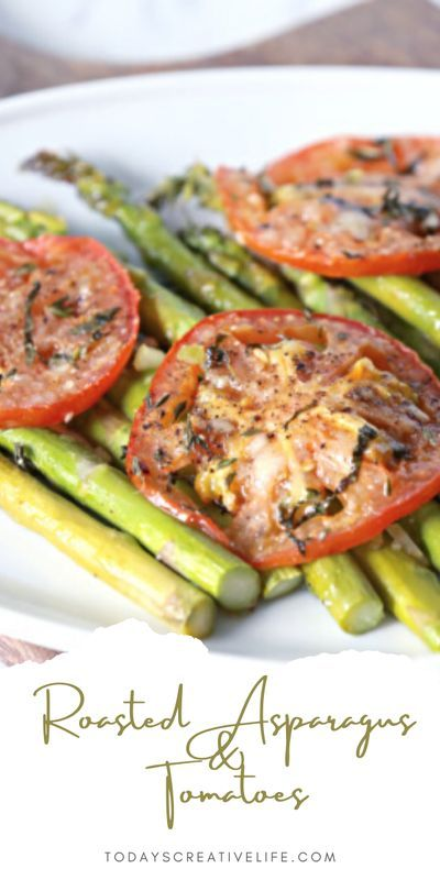 Easy to make side dish with asparagus and tomatoes. Roasted veggies are always full of flavor. See TodaysCreativeLife.com for a printable recipe.