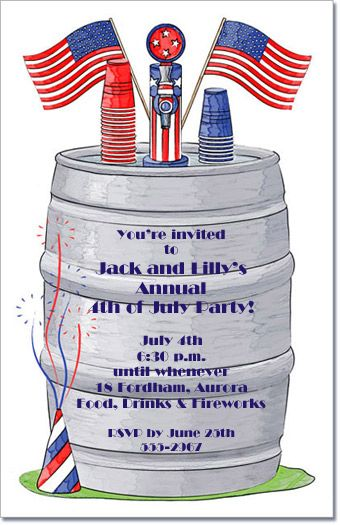 Keg~4th of July Party Invitation, Memorial Day Invitations