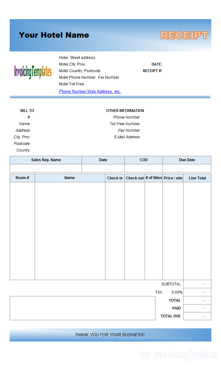 Petty Cash Receipt Template Custom Hotel Billing Software With Excel Receipt Template Format Blue .