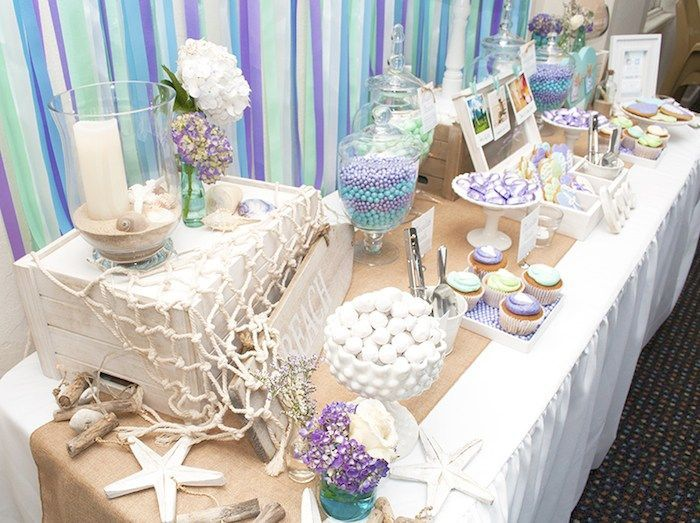 Wonderful Beach Themed Wedding Reception Decoration Ideas Part - 4: Beach Themed Dessert Tablescape #weddingreception