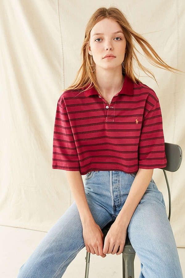 cdf5331b1268a Slide View  1  Urban Renewal Recycled Cropped Short Sleeve Polo Shirt