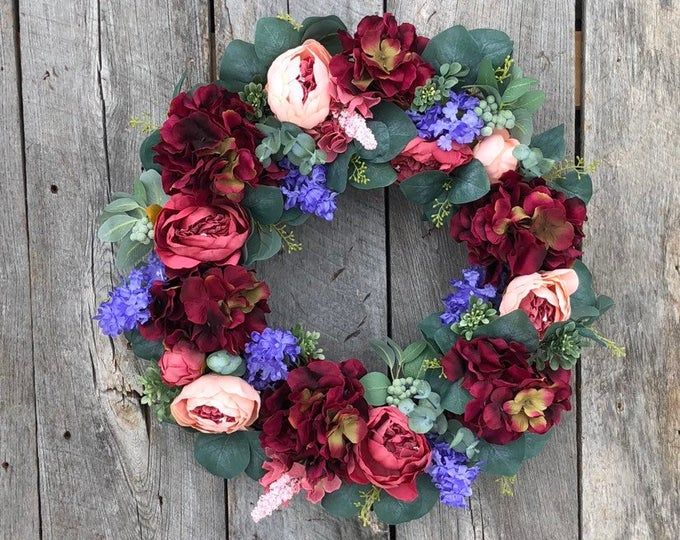 Spring Wreaths for Front Door, Full Floral Wreath, Spring Wreath, Spring Door Wreath, Spring Peony Wreath, Front Door Wreaths, Lambs Ear #doubledoorwreaths