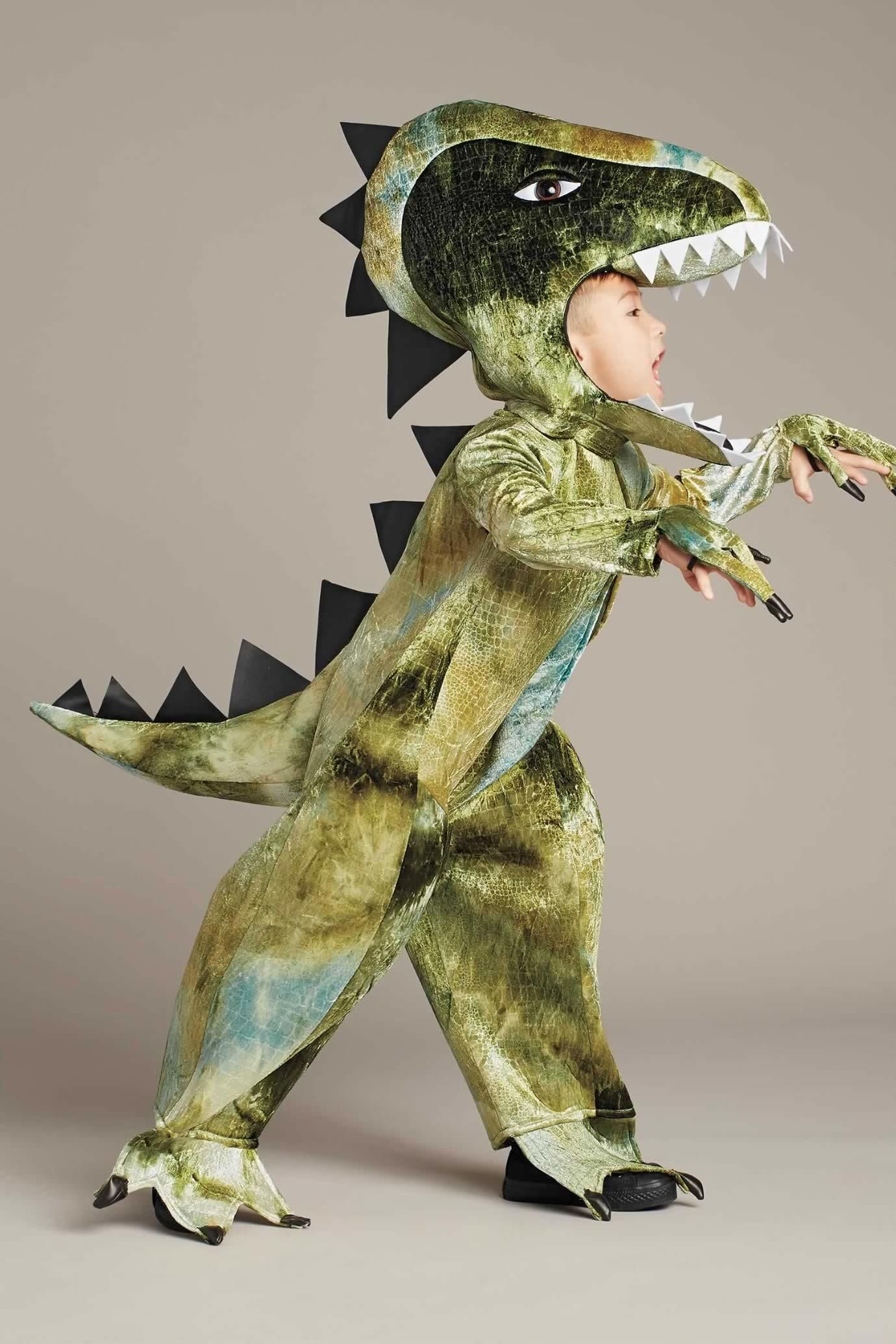 colossal t rex costume for kids chasing fireflies