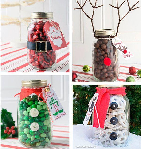 Obsequios navideños usando frascos de vidrio   adornos ...