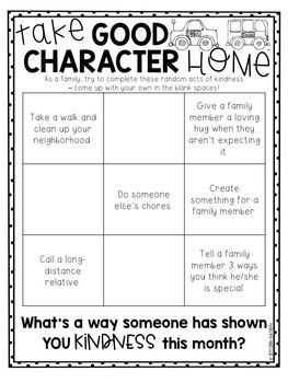 Family Activity Sheets on Character Education | Character ...