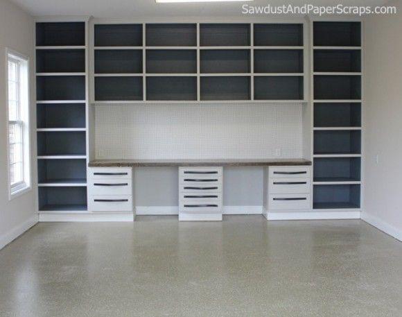 Elegant Garage Workshop With Built In Cabinets