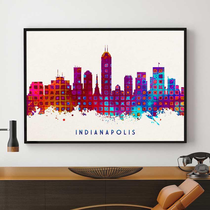 Indianapolis Skyline Print Indianapolis Painting Etsy Skyline Art Painting Art