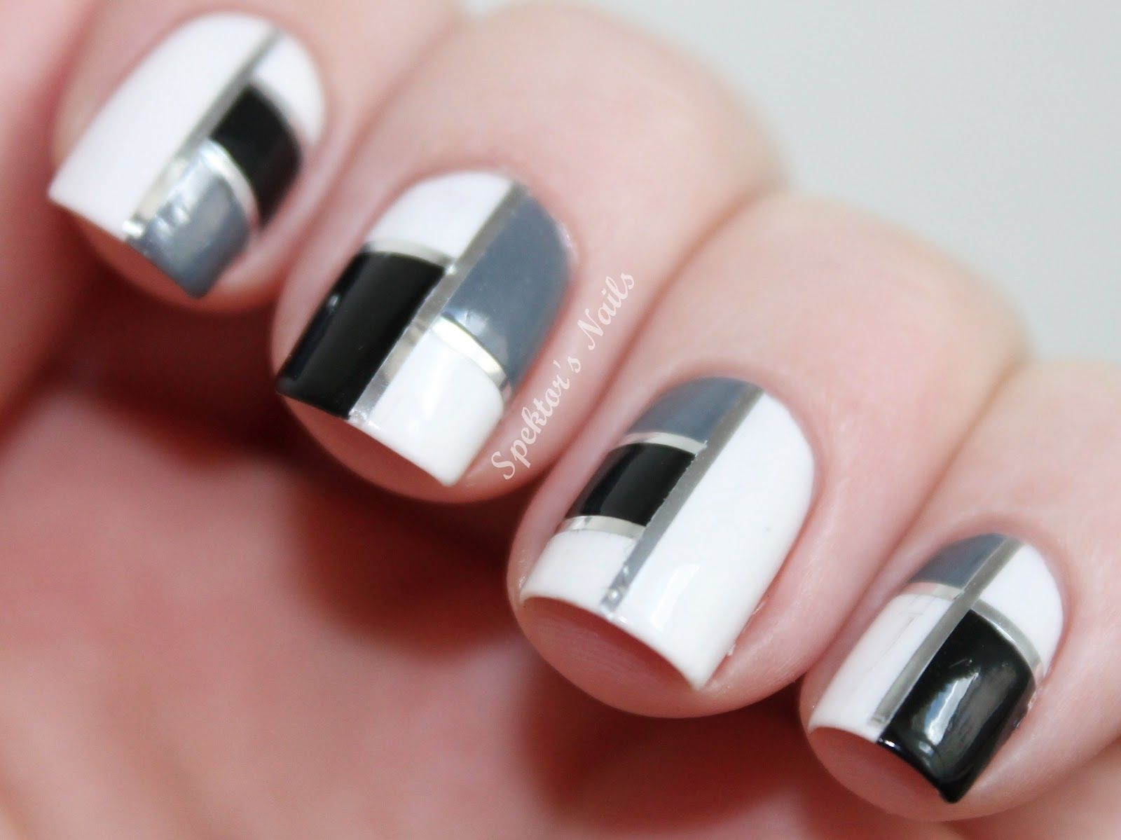 Black silver and gold line art toenail top black white nail black silver and gold line art toenail top black white nail design prinsesfo Images