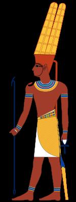 """""""Se le consideraba una deidad del aire, pero más tarde se le asoció a Ra, dios de Heliópolis, divinidad solar, bajo el nombre de Amón-Ra convirtiéndose en la principal divinidad de la religión egipcia. Los faraones adoptaron en su titulatura ser """"Hijo de Ra""""."""