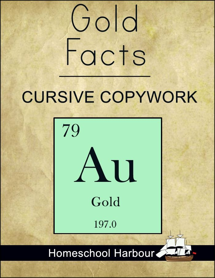 Gold Facts Cursive Copywork Notebook Homeschool Harbour Periodic