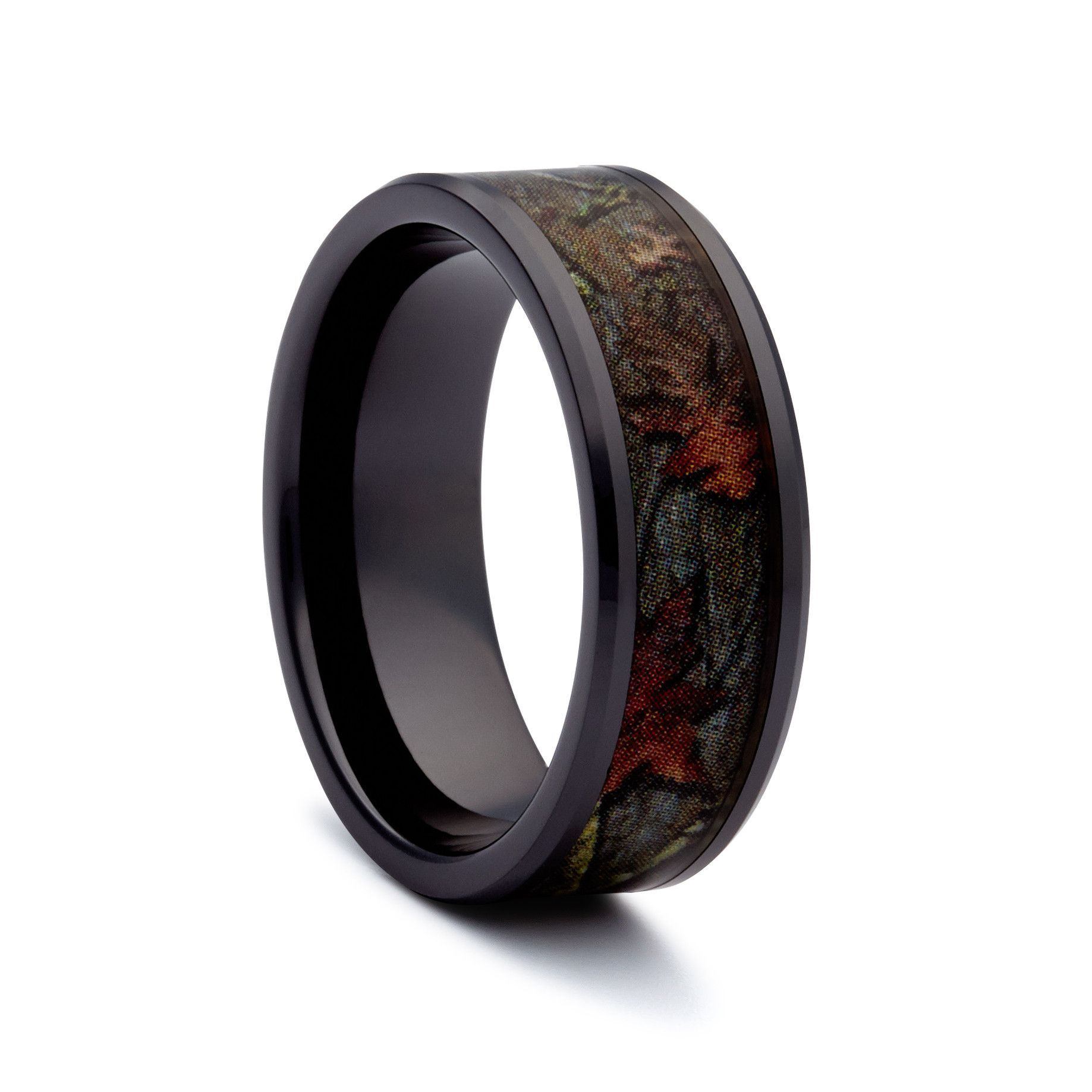 Black Camo Wedding Ring Black Titanium Camouflage Ring