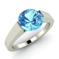 Blue Topaz Ring in 14k White Gold (1.4 ct.tw.) - Willa