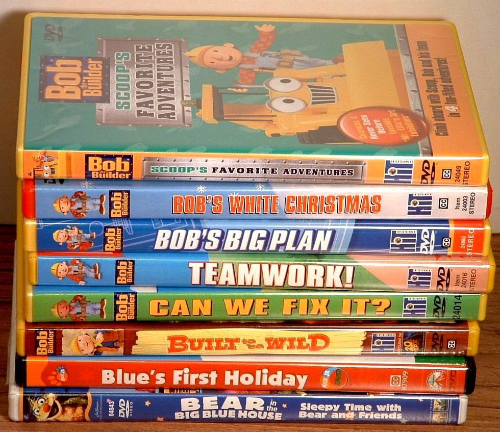 bob the builder dvd lot of 6 and blues clues hensons bear just