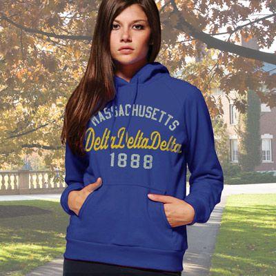 Delta Delta Delta State and Date Printed Hoody #Greek #Sorority #Clothing #TriDelta #DeltaDeltaDelta #Hoodie #Sweatshirt