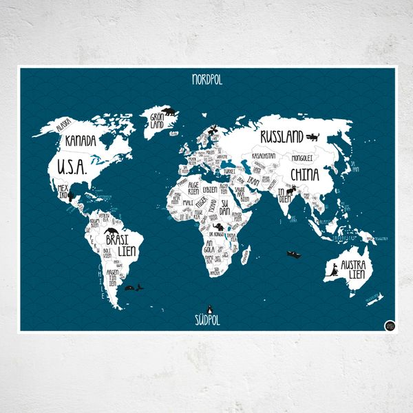 a1 plakat weltkarte petrol blau world map posterworld