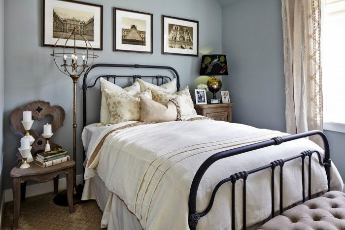 Black Wrought Iron Bed Traditional Bedroom With Black