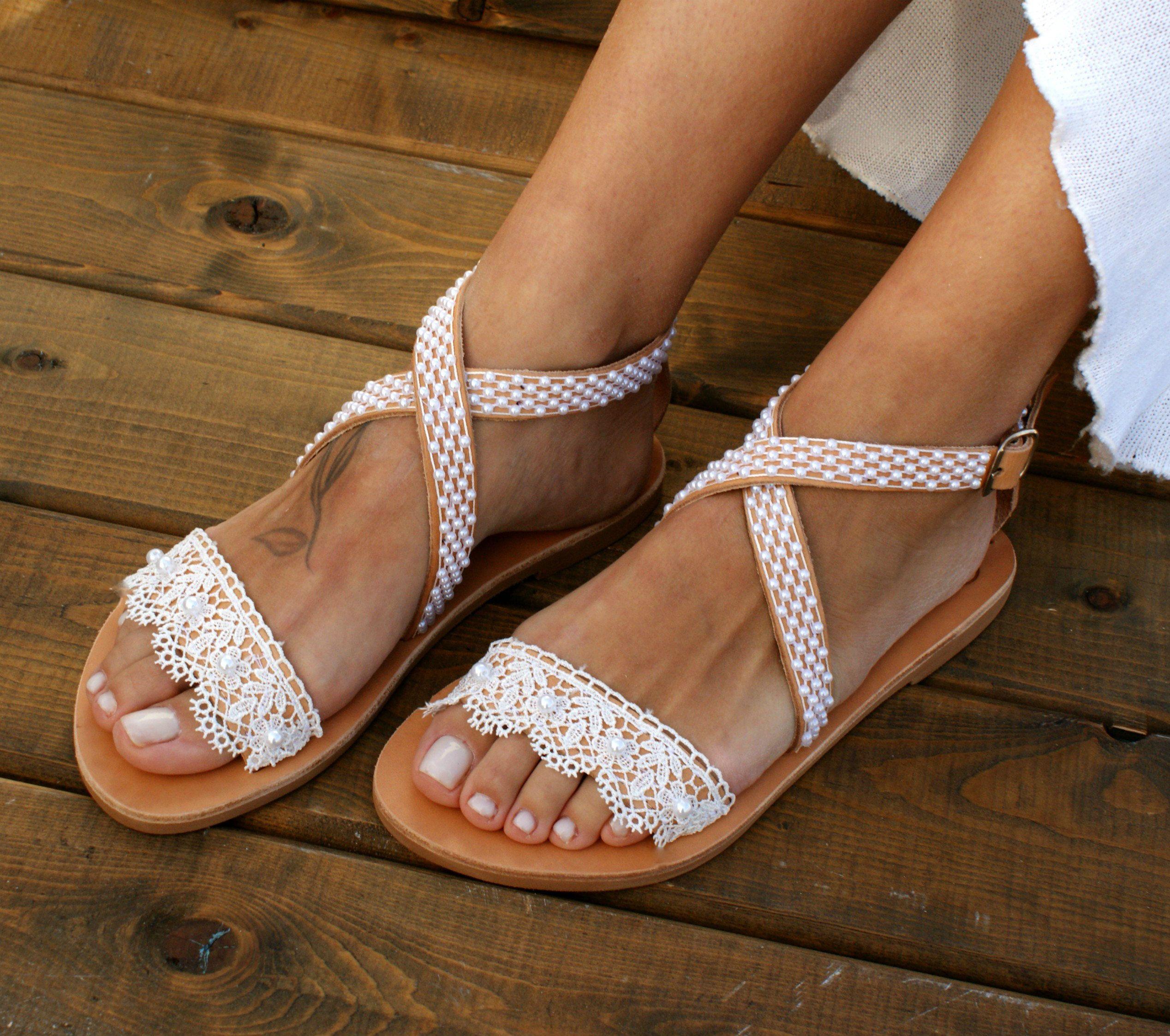 726ff67ff953e Wedding sandals/ white lace bridal sandals/ leather sandals ...