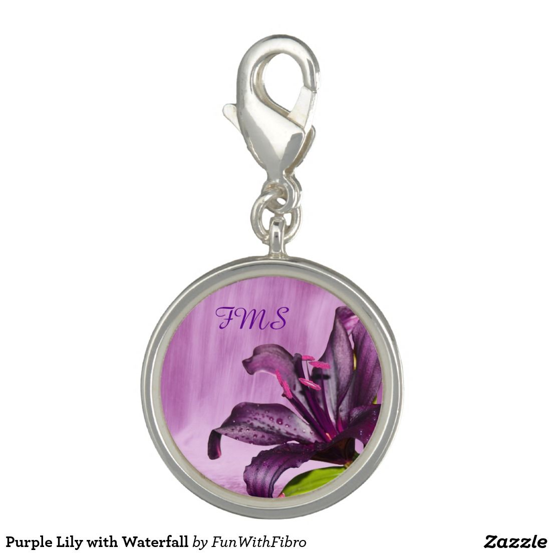 Purple Lily with Waterfall Bracelet Charms (x2)