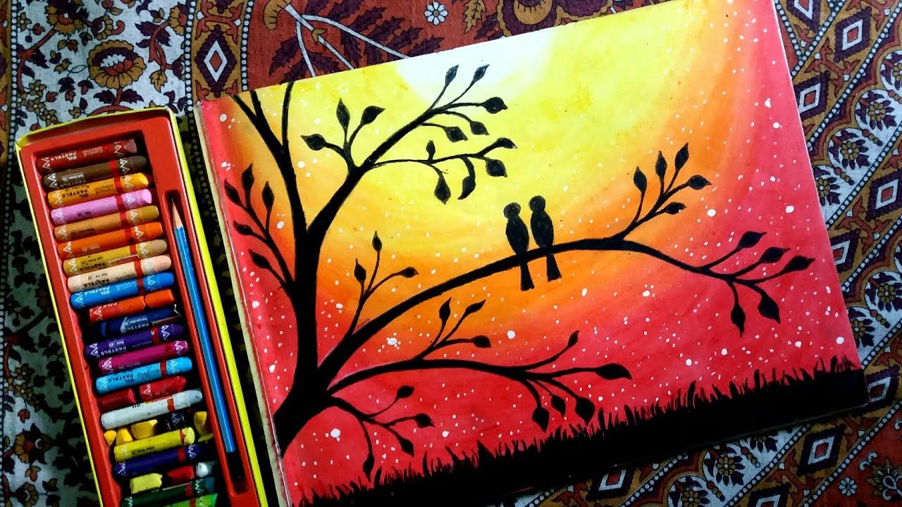 How to draw LOVEBIRDS in a sunset by oil pastel step by step