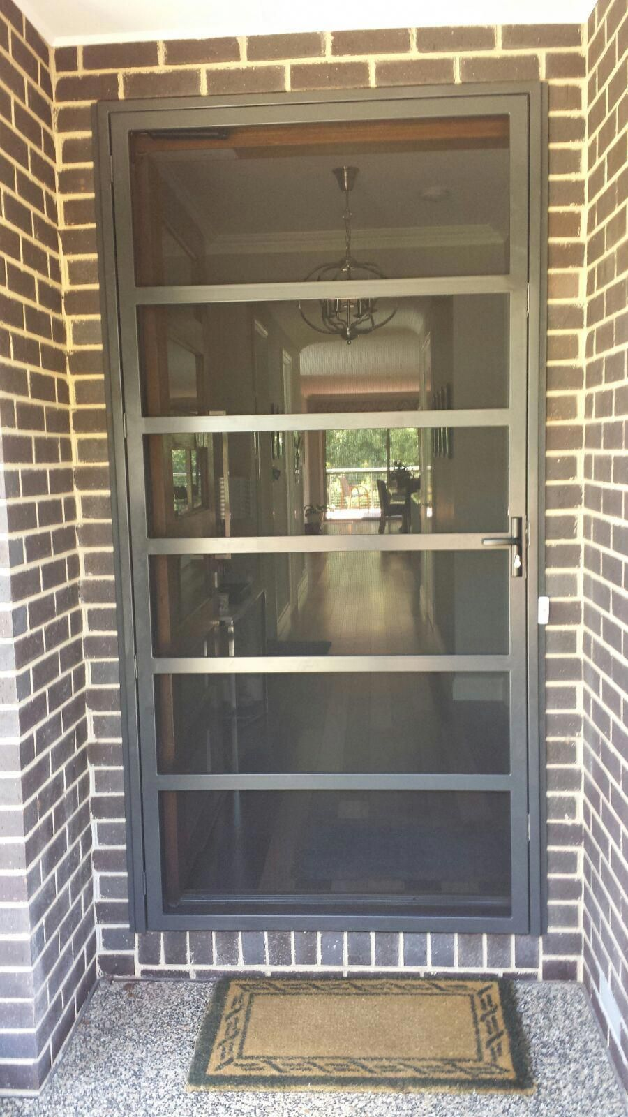Large Strong Steel Security Door With Stainless Steel Mesh And