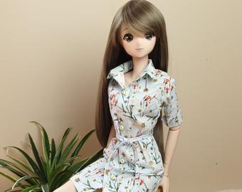 Custom Doll Dress White Flower BJD Doll Clothes Ou