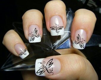 Beautiful Firefly Nail Art French Tips
