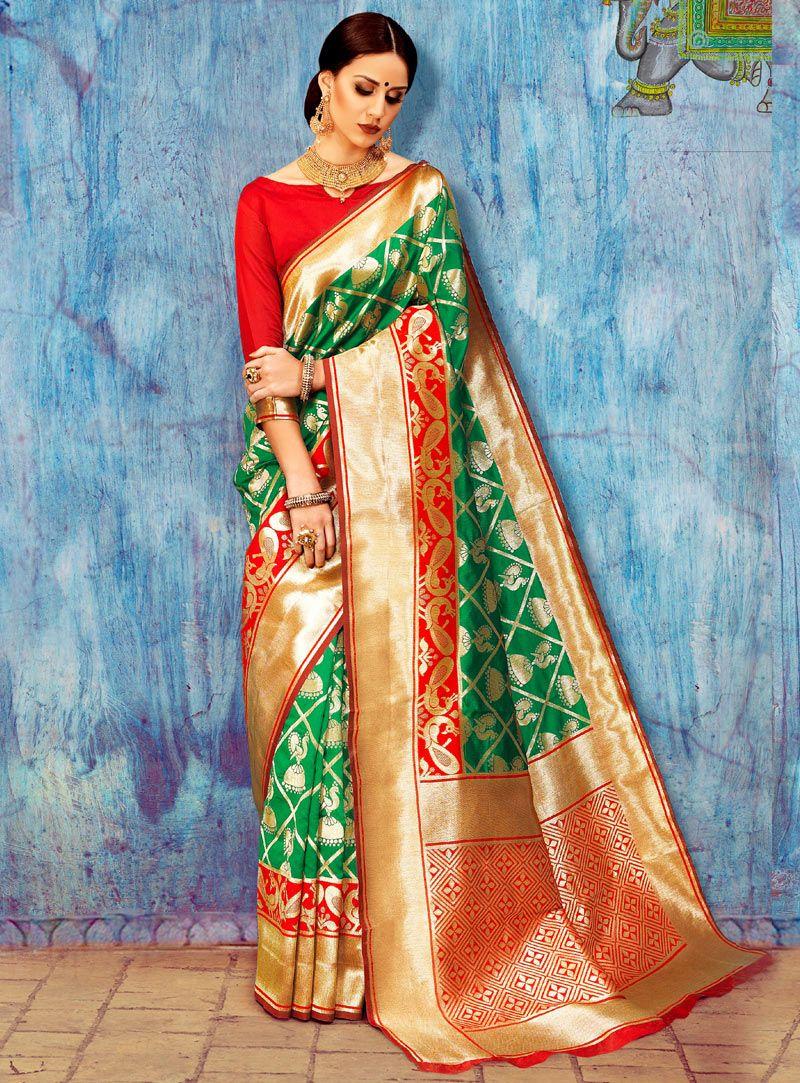 Green Silk Saree With Blouse 108503   Saris   Pinterest   Green silk ...