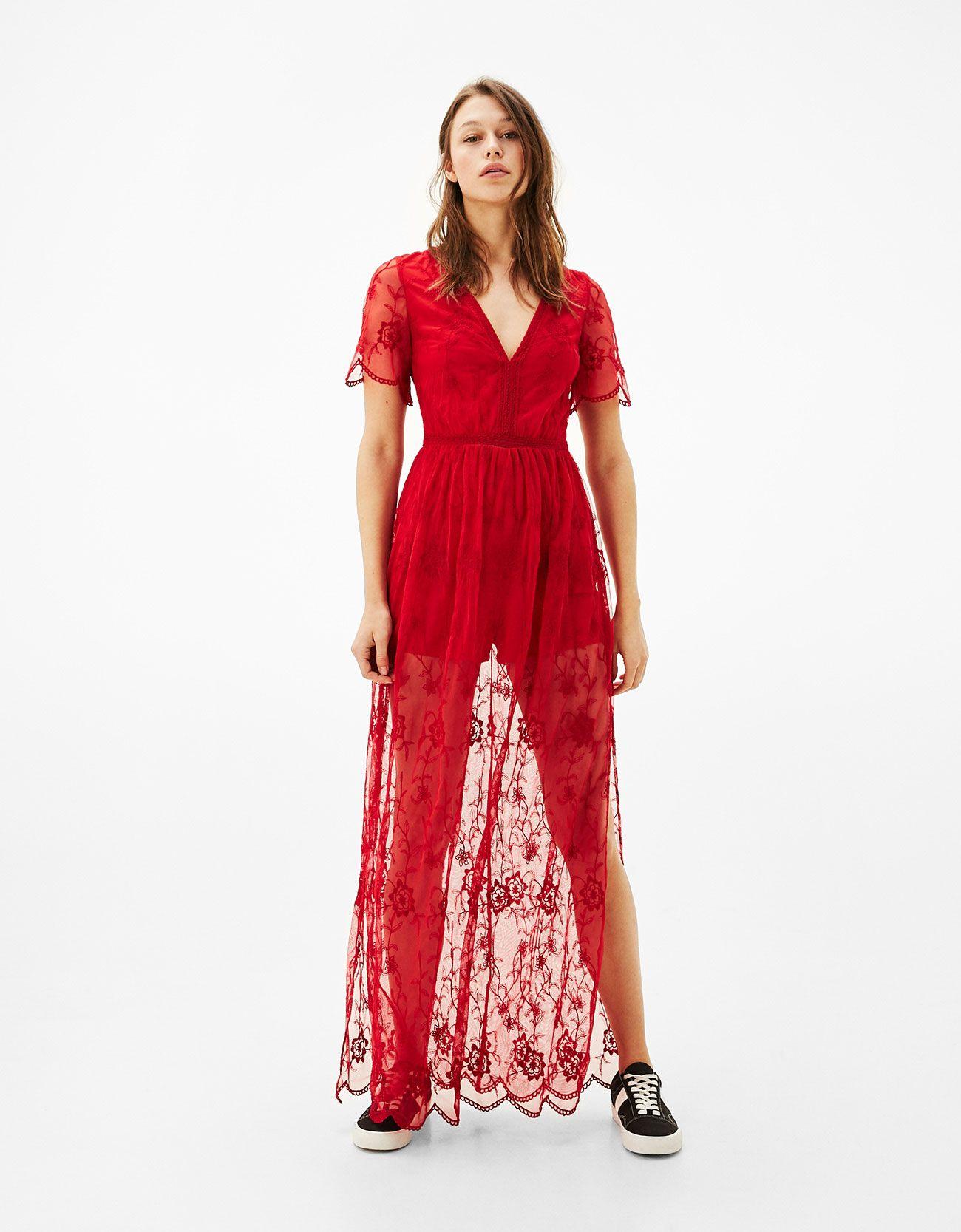 Vestido rojo flores bershka