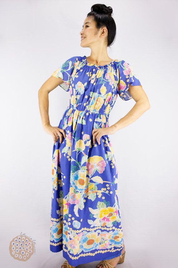 Cotton Muumuu 70s Vintage Dress Maxi Hawaiian Sheer wXzpgHq