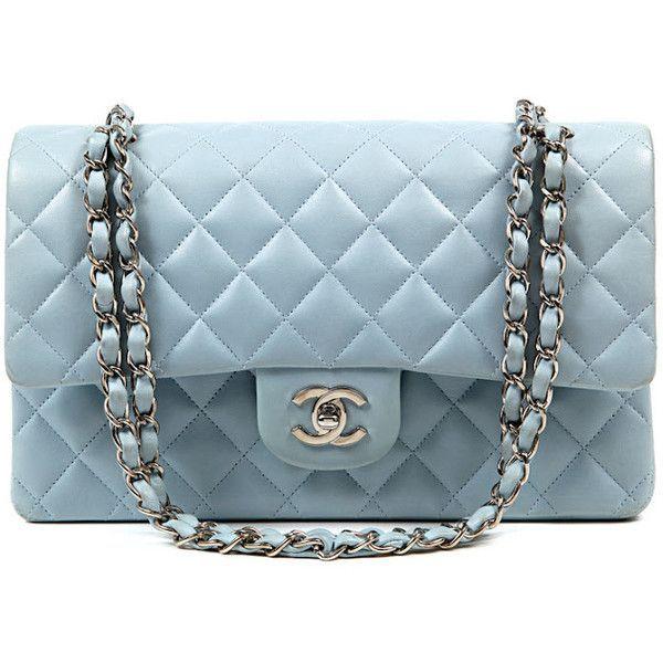 Authentic Chanel Powder Blue Leather Double Flap Classic Bag Found On Polyvore Handbag Vintage Women S Cute Chloe Michael Bags Chanel Bag Fashion Bags