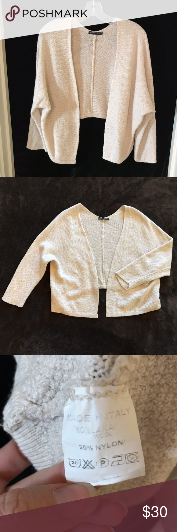 Brandy Melville Off-White Cardigan Crop Back Wool Size tag says ...