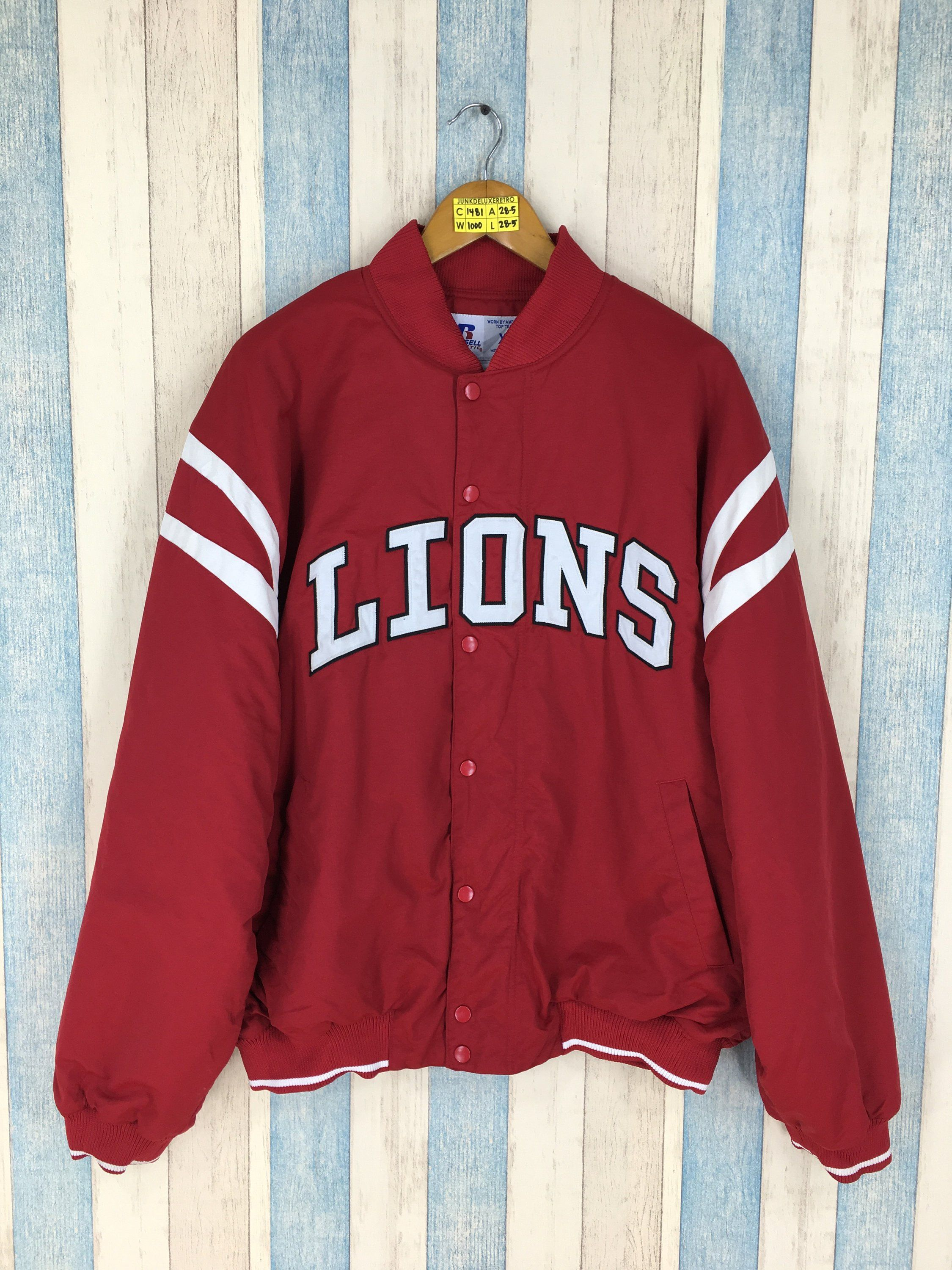 best website 43b9b 804a2 DETROIT LIONS Varsity Jacket Men XLarge Vintage 90's Lions ...