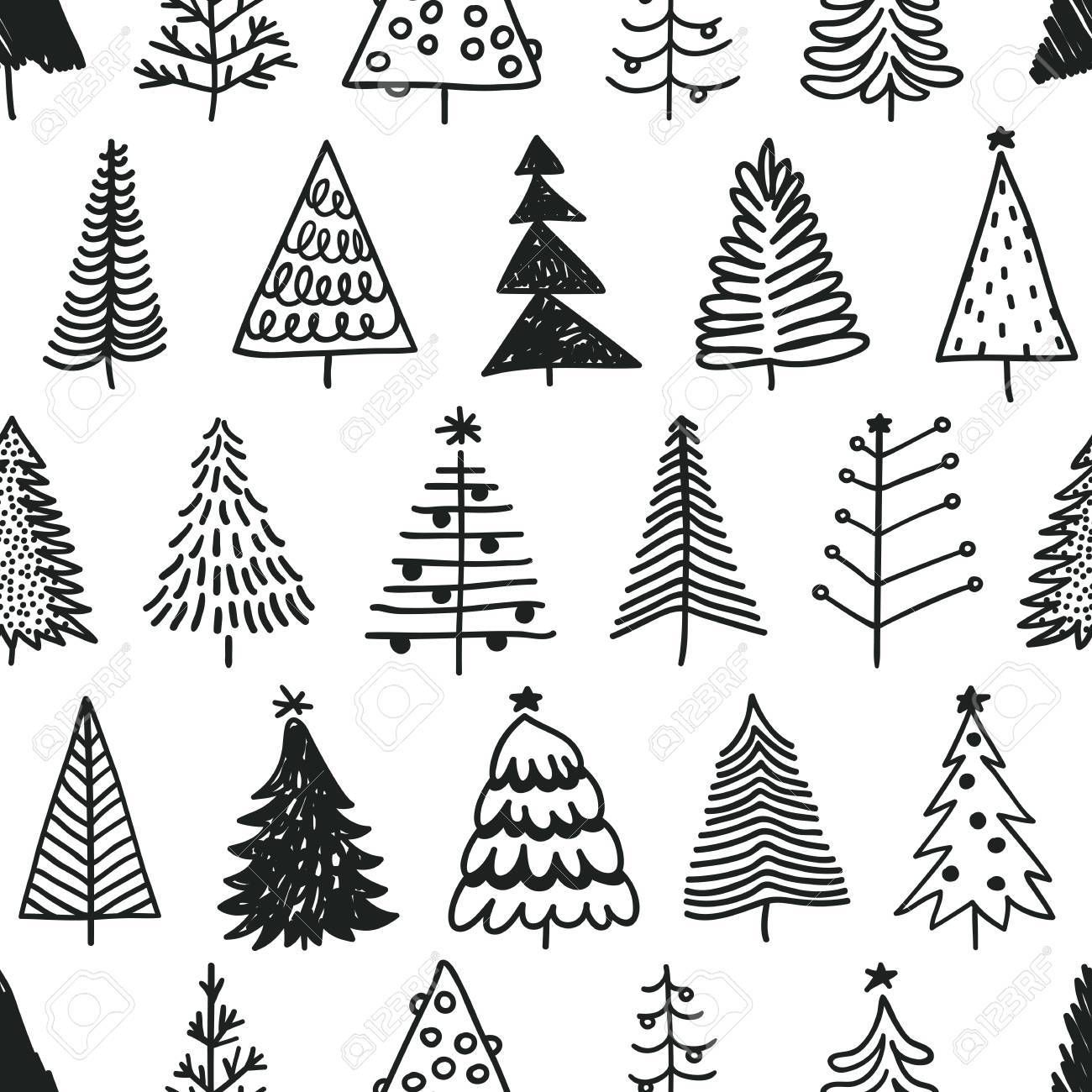 Seamless Pattern With Hand Drawn Christmas Tree Abstract Doodle Drawing Winter Wood Vector Art Holidays Christmas Tree Drawing Tree Doodle Christmas Doodles